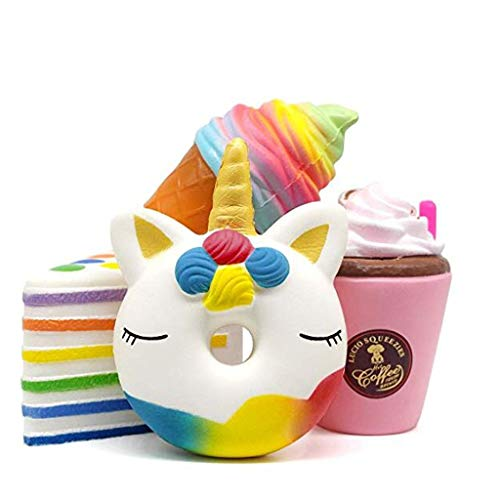 (Mikilon Jumbo Food Squishies Ice Cream, Coffee Cup, Cake, Unicorn Donut [4-Pack] Kawaii Food Squishy Slow Rising Sweet Scented Vent Charms Kid Toy Lovely Toy Stress Relief Toy Food Gift Fun Large)
