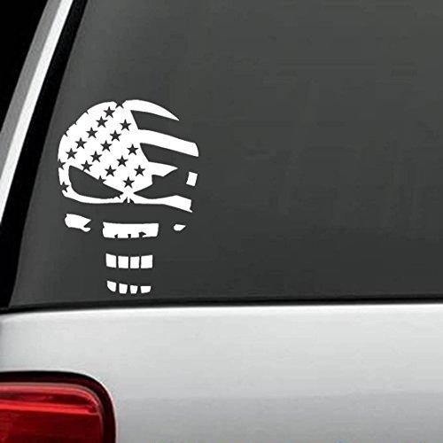Corps Marine Decal Flag (CMI294 Skull Punisher Flag Decal Sticker | White Vinyl)