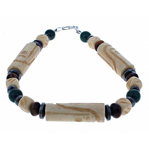 Tea-Dyed Bone, Dolomite, Tiger Eye & Hematite (Hemalyke) Men's Beaded Bracelet - 7