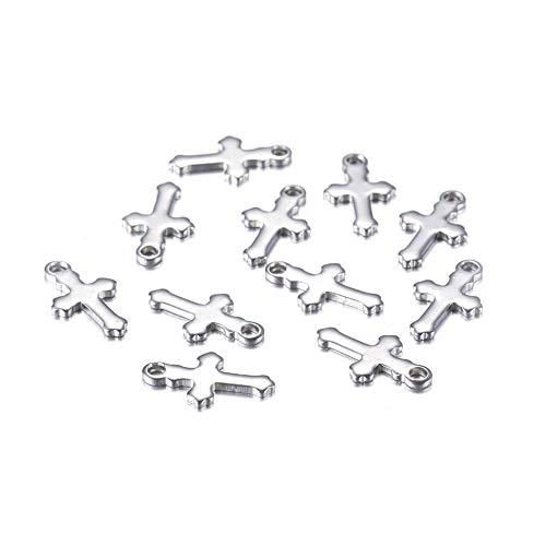 Kissitty 100pcs 304 Stainless Steel Solid Polished Cross Pendant Religious Cross Charms for Necklace Earring Bracelet Haircraft Jewelry Making 12x7x1mm