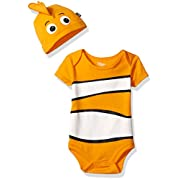 Disney Baby Boys' Finding Nemo Bodysuit with Cap Set, Orange, 0/3M