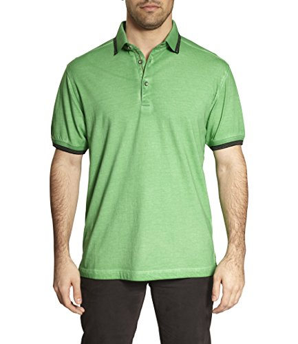 TADD Thaddeus Ferg Short Sleeve Cotton Edge Contrast Polo In Lawn Green Size (Cotton Lawn Short Sleeve Shirts)