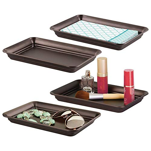 mDesign Metal Storage Organizer Tray for Bathroom Vanity Countertops, Closets, Dressers - Holder for Watches, Earrings, Makeup Brushes, Reading Glasses, Perfume, Guest Hand Towels - 4 Pack - Bronze