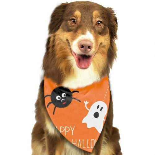 Hanging Spider and Ghost Happy Halloween Adjustable Pet Dog Cat Puppies Triangle Collars Scarf Collar Neckerchief -