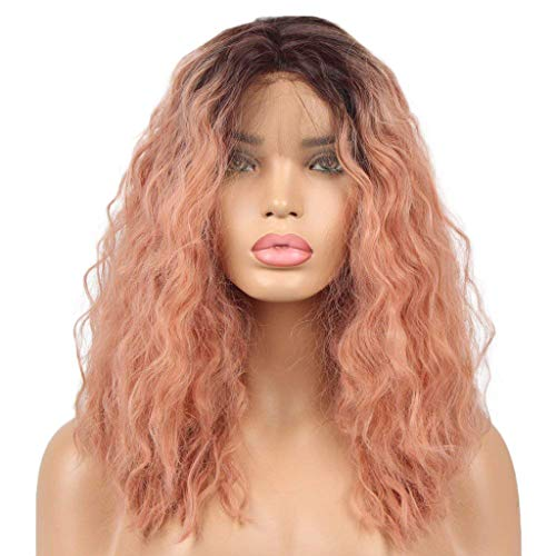 Wave Curly Wigs Ombre Pink Lady Long Synthetic Wig Fluffy Layered Tails Adjustable (a)