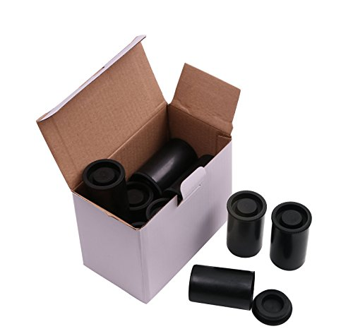 Shapenty Black Plastic Film Canister Holder Small Storage Containers Case with Lids for Scientific Activity or Travel, 12PCS