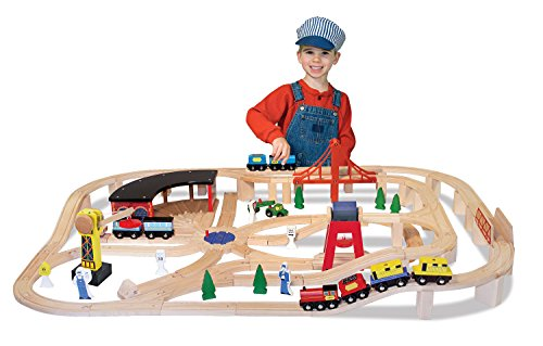 Melissa & Doug Wooden Railway Set, Vehicles, Construction, 130 Pieces, 17 H x 5 W x 28 L