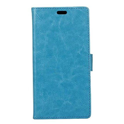 Cristal de grano PU de cuero de la cartera de la caja del teléfono Funda de silicona suave cubierta con ranuras de efectivo de tarjeta y Función de pie para Lenovo Vibe P2 ( Color : Blue ) Blue