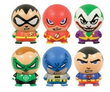 DC Comics Buildable Capsule Figures (6 Piece Set) Superman, Batman, Robin, Flash, Green Lantern, and Joker Capsule Figure Set
