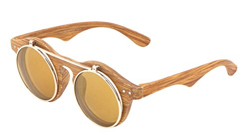 Faux Wood Frame Iridium Mirror Lenses Flip Up Sunglasses (Wood Frame, Brown / Amber - Frames Glasses Wood