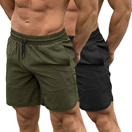 TEZO Mens 7 Gym Workout Shorts Training Bodybuilding Short Pants Zipper Pockets