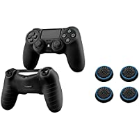 Insten [2 Pair / 4 Pcs] Silicone Analog Thumb Grip Stick Cover (Black/Blue) + Pythons Protective Case for Sony Playstation 4 PS4 Controller (Black)