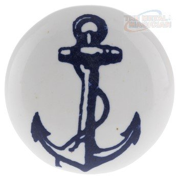 Blue Anchor On White Ceramic Nautical Drawer Pulls/Ceramic Cabinet Knobs/Anchor with Rope/Set Of 6 By The Metal Magician