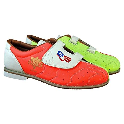 Ladies Glow TCRGV Cobra Rental Bowling Shoes- Hook and Loop Neon Yellow/Orange/White 8 M US