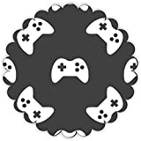 Rikki Knight Gaming Joystick Pattern Design Fancy Round Scallop Shaped Fridge Magnet