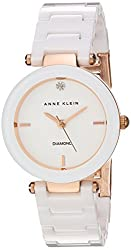 Anne Klein Women's AK/1464RGWT Diamond-Accented Rose Gold-Tone and White Ceramic Bracelet Watch
