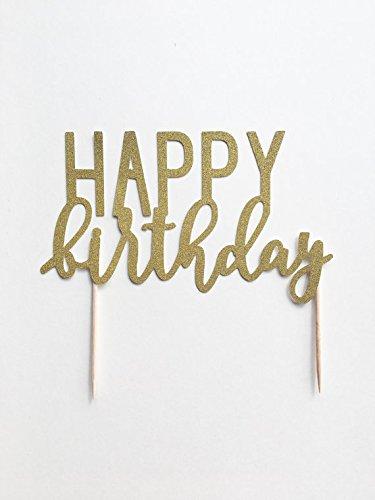 1 Pc QuotHAPPY Birthdayquot Mix Fonts Handwritten Cursive Script Gold Glitter