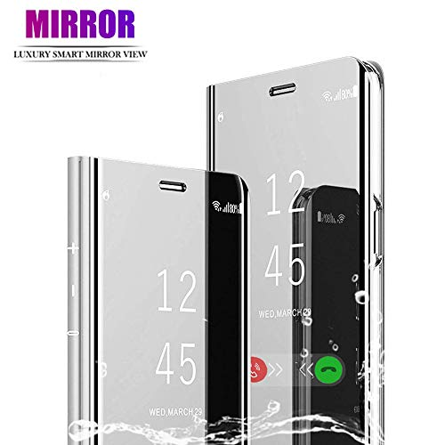 BOWFU Funda para iPhone 12 Pro MAX (6 7), Cover Espejo Cartera Case Flip Silicona Transparente Wallet de Piel Bumper Folio Protector Shell Mirror, Plata