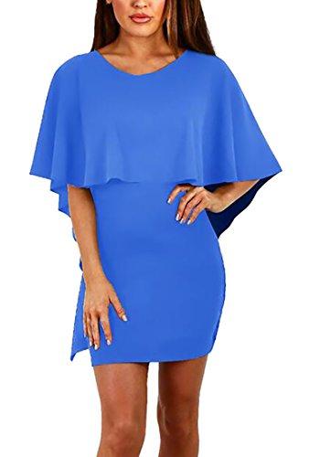 Jaycargogo Femmes Backless Manches Chauve-souris Bandage Manteau Moulante Mini Robe Bleu Saphir