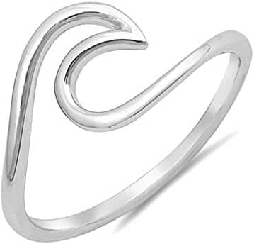 .925 Sterling Silver Wave Design Simple Plain Surfer Ocean Waves Nautical Ring Band Sizes 4-10