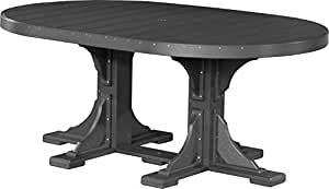 Outdoor Polywood 4' x 6' Oval Table - TABLE ONLY - BLACK Color