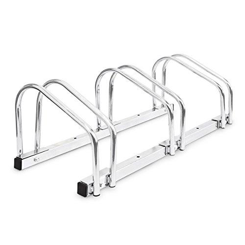 Relaxdays Fahrradständer für 3 Fahrräder, Silber, 10017694