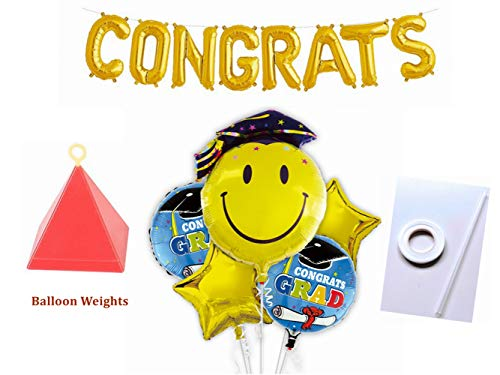Emoji Graduation Mylar Balloons Set with Congrats Letter Foil Balloon Banner & Balloon Weights: 26'Emoji Grad Head, 21'Congrats Graduate, 21'Gold Star, 17'Letter Balloon Banner Party Decor(14 pcs set)