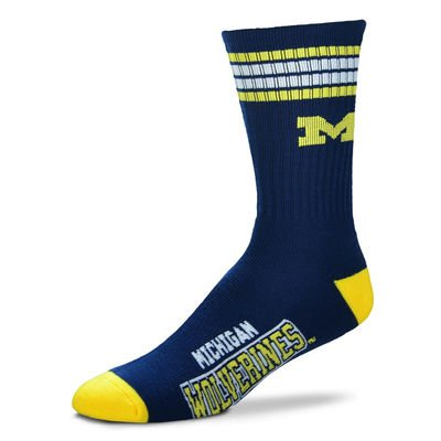 Michigan Wolverines Clothing (For Bare Feet Mens NCAA 4 Stripe Deuce Crew Socks, Michigan Wolverines, Medium)