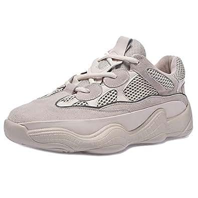 Melady Women Fashion Sports Shoes Lace Up Thick Sole Papa Shoes Casual Shoes Unisex Couple Shoes Beige Size 35