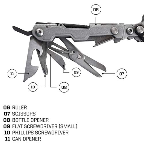 SOG EDC Pocket Multitool with Clip - PowerLitre Small Multi Tool and Scout Multitool with Knife, Screwdriver, Hex Bit Holder and 17 Multi Tools ...