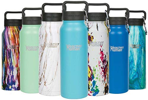 4f03ea55e Healthy Human Insulated Stainless Steel Water Bottle Stein - Cold 24  Hours Hot 12 Hours - Double Walled Vacuum Flask with Hydro Guide    Carabiner - 21 oz ...