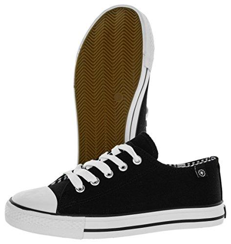 Beppi Star Kinder Sneaker Jungen Mädchen | Schuhe Leicht Bequem | Sommerschuhe Freizeitschuhe Niedrig Low-Top | Versch. Größen Schwarz