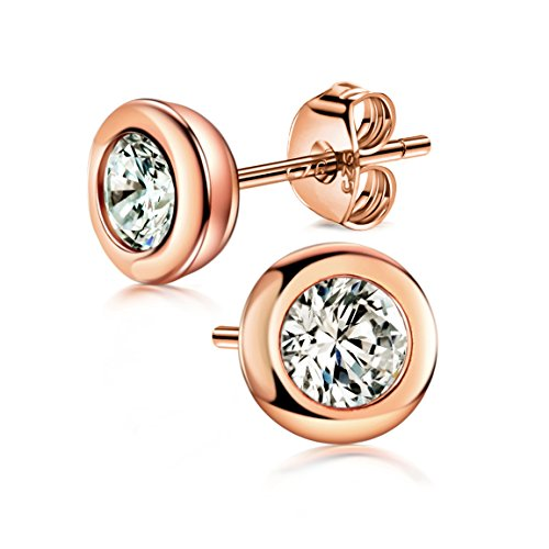 OREOLLE Rose Gold-Plating Round Clear Cut Cubic Zirconia Stud Earrings with Sterling Silver Bezel-Set Martini