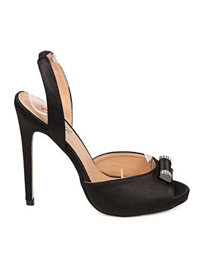 Camille EI07 Women Satin Peep Toe DOrsay Stiletto Slingback Sandal - Black CXlwZf32Hc