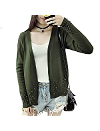 Gecomia Women Cardigan Long Sleeve Knitted Coat Tops Off Shoulder Sweater Size M