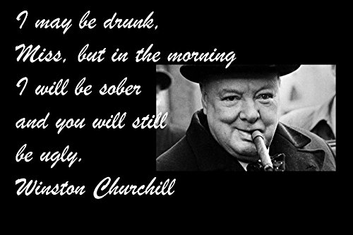 12x18 All Tin Aluminum Sign Famous Quote I May Be Drunk, Miss, But in The Morning I Will Be Sober and You Will Still Be Ugly. Winston Churchill