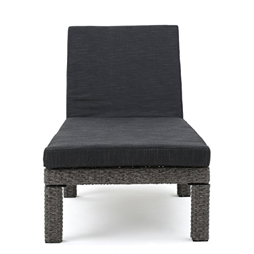 Christopher Knight Home 299932 Venice Outdoor Mixed Black Wicker Chaise Lounge with Dark Grey Water Resistan, Set of 2, by Christopher Knight Home (Image #1)