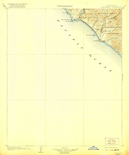 (YellowMaps Capistrano CA topo map, 1:125000 Scale, 30 X 30 Minute, Historical, 1906, Updated 1921, 19.8 x 16.5 in - Polypropylene)