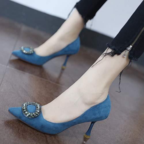 YMFIE Temperamento Elegante de la Moda del Resorte y del otoño con los Zapatos de la Boca Baja del Diamante Artificial de los Altos Talones Atractivos Acentuados, 35 UE 35 EU