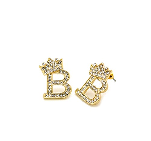 Unisex Crown Tilted Initial Alphabet Letter Pierced Post Stud Earring Gold, Silver Tone (B - Gold)