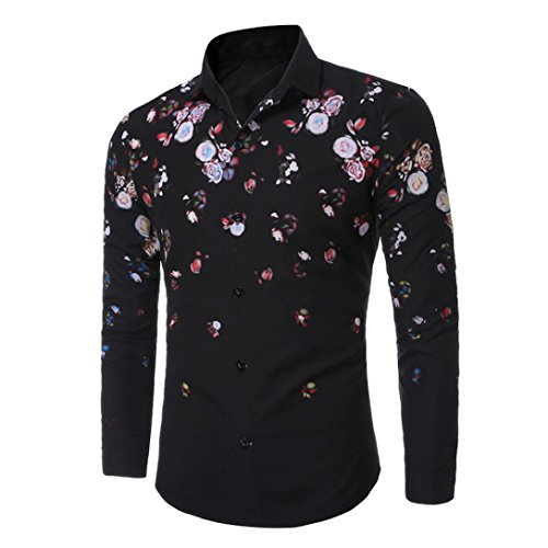 Men's Tee,Neartime Casual Slim Fit Long Sleeve Rose Print Men Shirts Tops