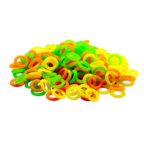 ZXUEZHENG 150 Pack Elasticity Silicone Soft Stitch Ring Markers For Knitting Crochet Etc, (Small Size For Needle Sizes 0-8, Orange, Yellow, Green)