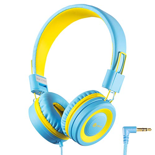 iClever Kids Headphones Girls Toddler - Wired Headphones for Kids on Ear, 94dB Volume Control, Tangle-Free Cord, Foldable, Child's Headphones for iPad Tablet Kindle Airplane School - Blue/Yellow