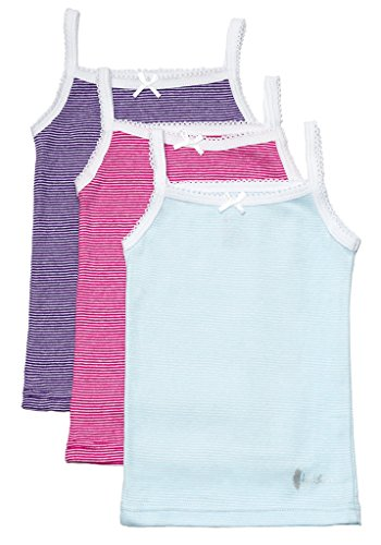 Feathers Girls Multi Stripe Tagless Cami Super Soft Undershirts (3/pack), Size 6 (Undershirt Girls)