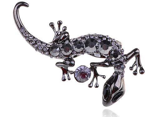 Silver Jet Black Czech Crystal Lizard Crawl Reptile Fashionable Adjustable Ring ()