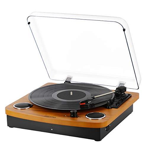 Record Player Turntable,Pareiko Vintage Vinyl Record Turntable Player,Bluetooth Record Player with Speaker,Vinyl to MP3 Recording ,RCA Output,3.5mm Aux Input,Headphone Jack
