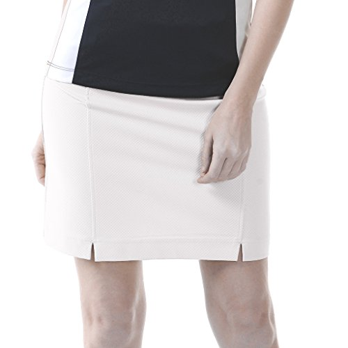 - Monterey Club Ladies Dry Swing Notched Detail Texture Solid Pull-on Knit Skort #2856 (White, Large)