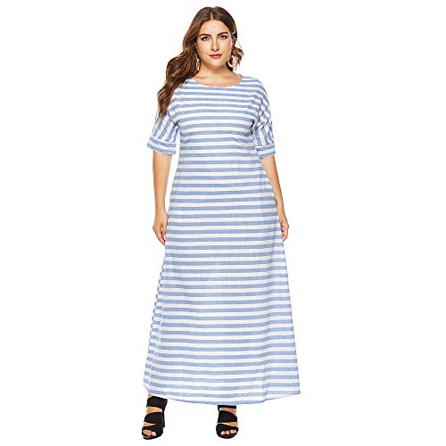 vermers Women Plus Size Long Maxi Dress - Women Casual Half Sleeve Stripes Printed Loose Dresses Tops(3XL, White)