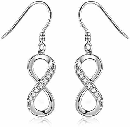 c2835dde4fc762 Billie Bijoux Women 925 Sterling Silver Infinity Dangle Drop Earrings Studs  Infinity Love Round Cut CZ
