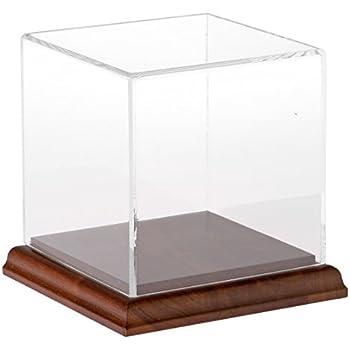 Plymor Small Acrylic Display Case with Hardwood Base, 4 inch x 4 inch x 4 inch